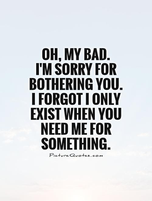 Oh, my bad. I'm sorry for bothering you. I forgot I only exist when you need me for something. Sarcastic quotes on PictureQuotes.com.