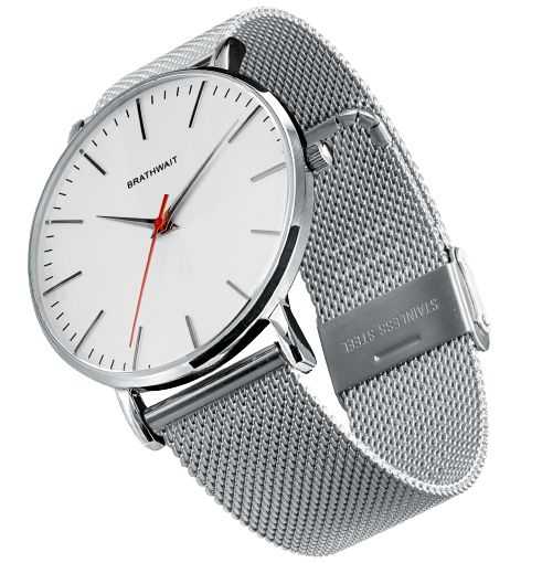 The classic slim steel wrist watch: Stainless steel mesh strap – Brathwait  $185