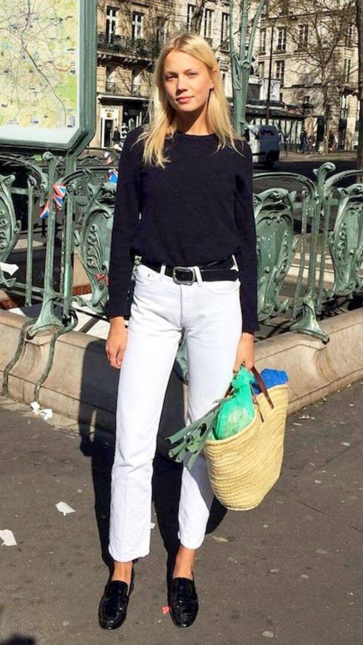 Black long-sleeve t-shirt, white jeans, black loafers & straw bag | @styleminimalism