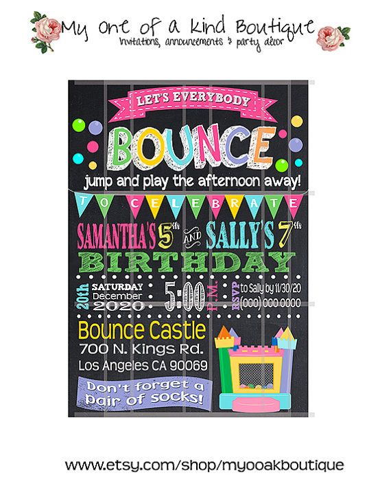 The 25 best Bounce house parties ideas – Bounce Party Invitation