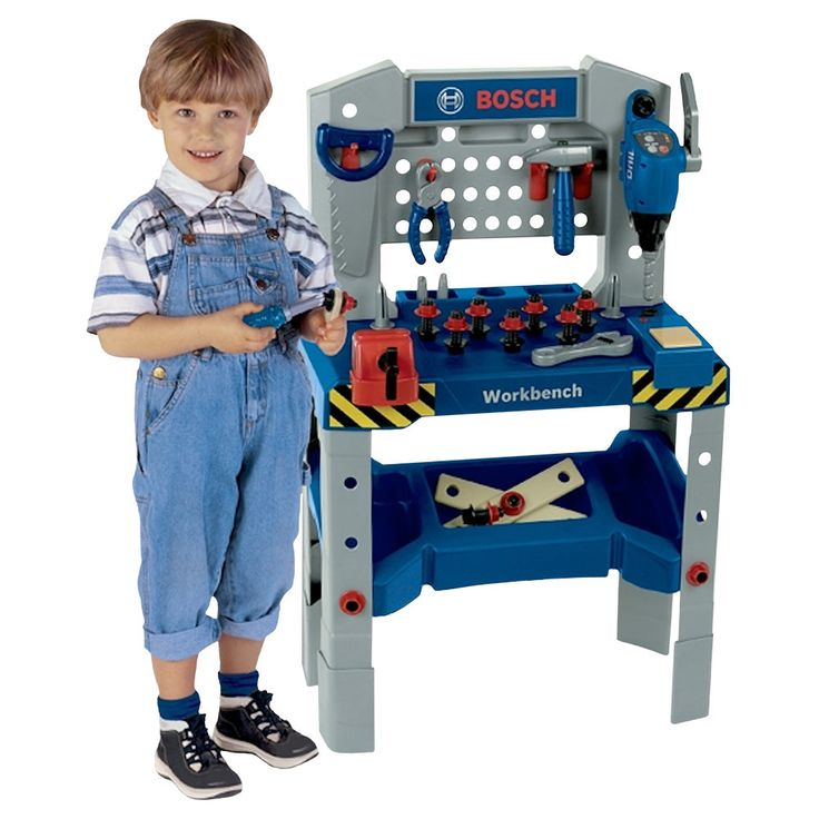 This Bosch Adjustable Height Toy Workbench with Sound from Theo Klein will grow with your child and can be raised to 3-feet tall. This fun pretend play set even has lights and sounds that will be sure to thrill your little carpenter and it comes with