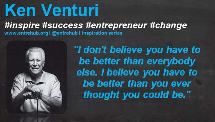 """""""I don't believe you have to be better than everybody else. I believe you have to be better than you ever thought you could be."""" #KenVenturi #inspiration #quotes for #entrepreneurs #startup #Business & #smallbusiness www.entrehub.org  #entrehub #leanstartup"""