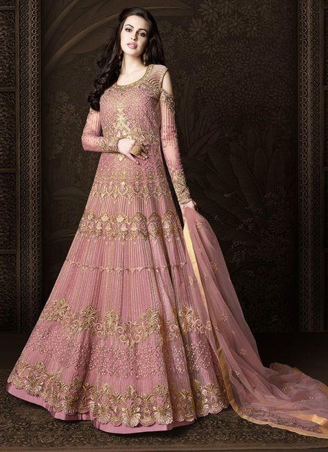 fc97a16919f Buy Net Pink Zari Anarkali Suit Online