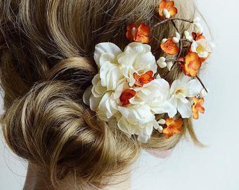 Braut Haar-Clip, Braut, orange Haarspange, Herbst-Haar-Clip, Elfenbein Blume, Braut Haarschmuck, Blumen Haare kämmen