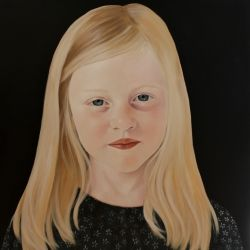 "'Betsy' 24""x24"" acrylic on board by Penelope Boyd  My daughter painted by Penelope Boyd"