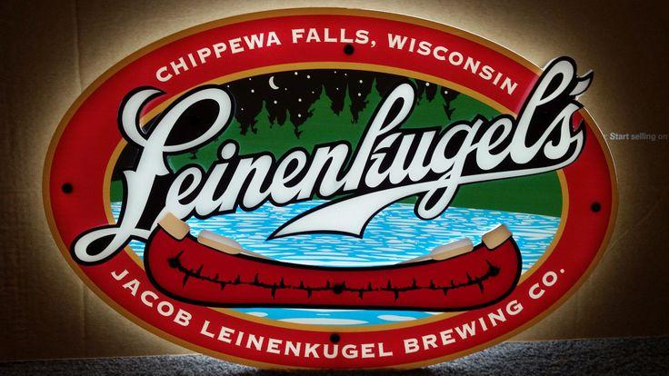 """Leinenkugel's Beer Logo Led 3-d Red Canoe Bar Sign Light 23""""x15"""""""