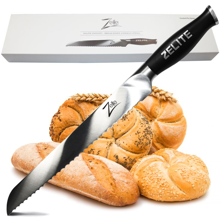 """The Zelite Infinity 10"""" Bread Knife Part of The Comfort Pro Series😍 Serrated blades have been designed to cut through tougher foods with a hard exterior and sometimes a softer interior such as bread, types of fruit, types of vegetables, chocolate, etc."""
