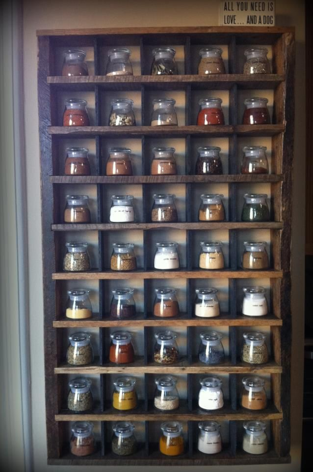 Custom built spice rack, designed for specific glass jars.  Holds 45 jars, perfect for the chef's collection of various spices.  Locally so...