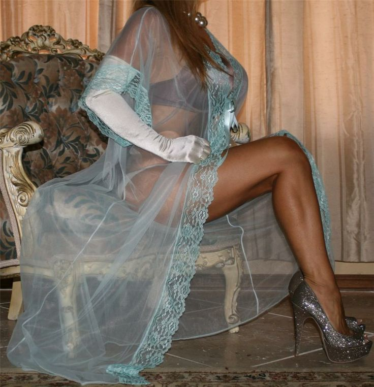 Sheer Blue Green Chiffon Robe White Satin Gloves Sheer Shimmer Pantyhose and Silver High Heels