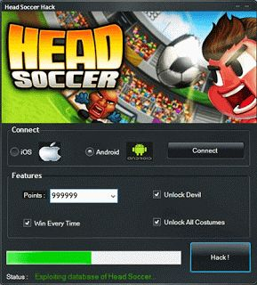 Head Soccer hack. If you're all having trouble finding Head Soccer hack at some site or look it up on google.com and found no , do not worry you can find what you are looking for here. 100% working and clean from viruses. We will provide Head Soccer Hacks No Surveys No Password to download for free.
