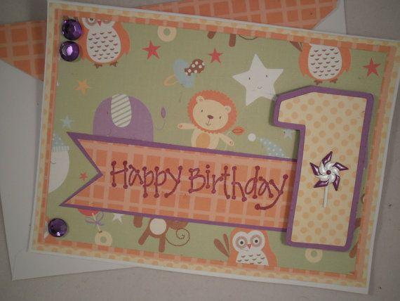 First Birthday Card, Handmade Birthday Card, Card for Baby, First Birthday on Etsy, $4.22 CAD