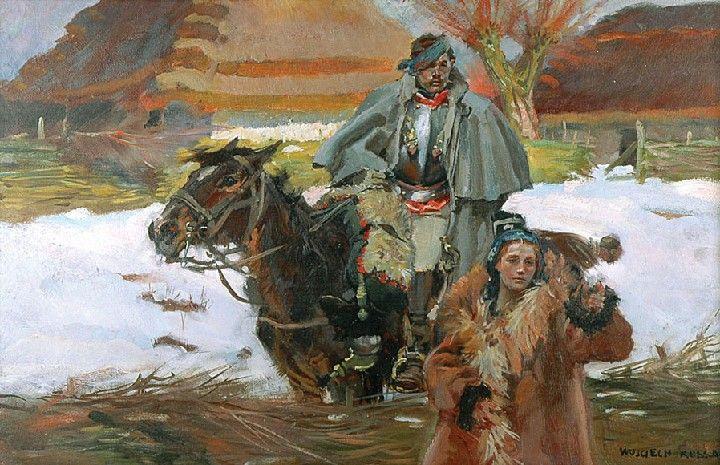 Wojciech KOSSAK (1856 - 1942)  Pytanie o drogę olej, deska, 37 x 58 cm;