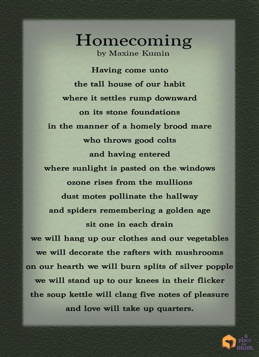 Poem Homecoming By Maxine Kumin Inspirational Quotes