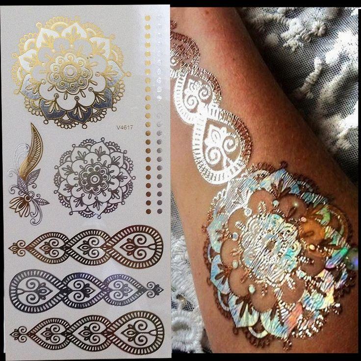 Gold Mandala Tattoo Temporary Stickers mandala stickers, mandala wall decal, man…