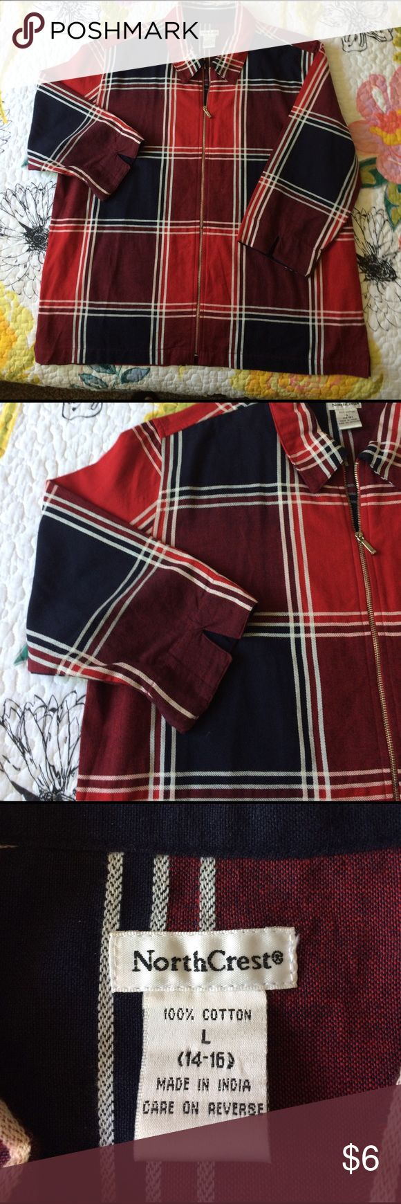 Ladies summer jacket Beautiful colors, zips up the front 3/4 sleeves, red, blue, purple and white. Excellent condition%100 cotton, great for summer. NorthCrest Jackets & Coats