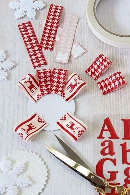 赤×白のリボンで♪ 簡単おしゃれなクリスマスディスプレイ
