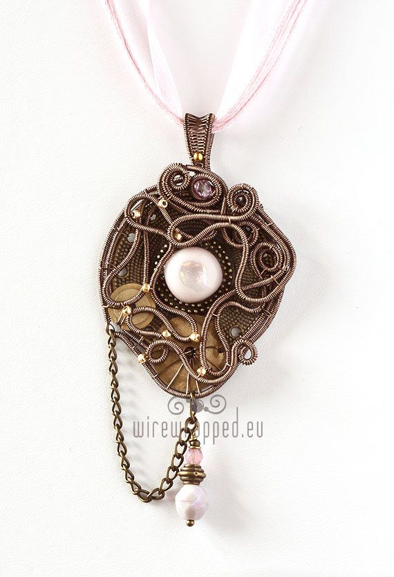 OOAK Industrial steampunk pink eye wire wrapped pendant with chains Handmade item Materials: enamel plated copper wire, czech fire polished glass beads, fused glass, metal chains
