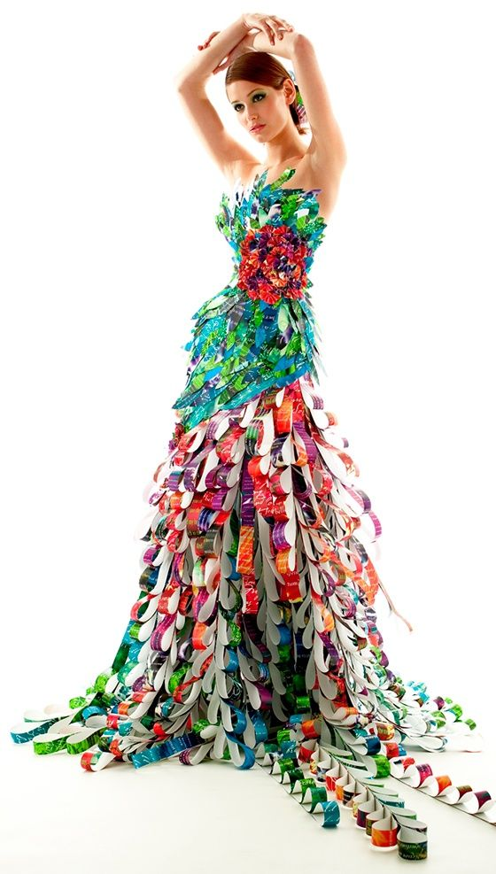 recycled streamer dress - world 4