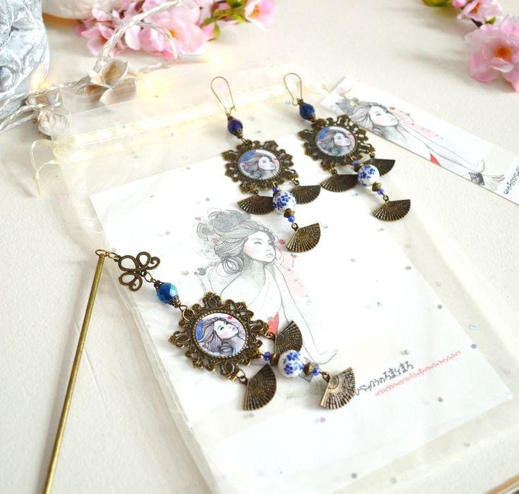 Cadeau femme : Boucles d'oreille et pic à cheveux geisha et éventails assorti esprit japonais. : Accessoires coiffure par mes-tites-lilis