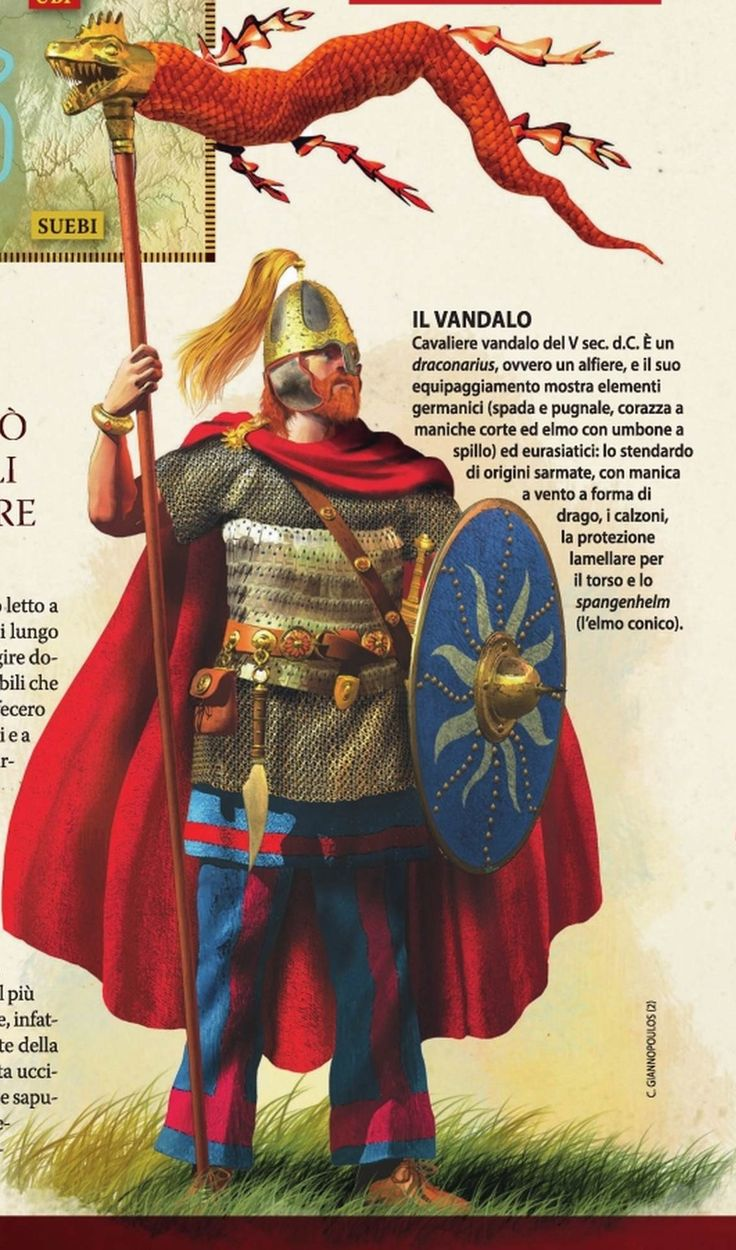 Vandal Warrior of Genseric's military. The Vandals were the most successful of Rome's barbarian adversaries, depriving the Western Empire of its richest province (Africa); sacking Rome itself in the 450s; withstanding a joint Western/Eastern attempt to overthrow their kingdom, and capturing Sicily and Sardinia from Odoacer.