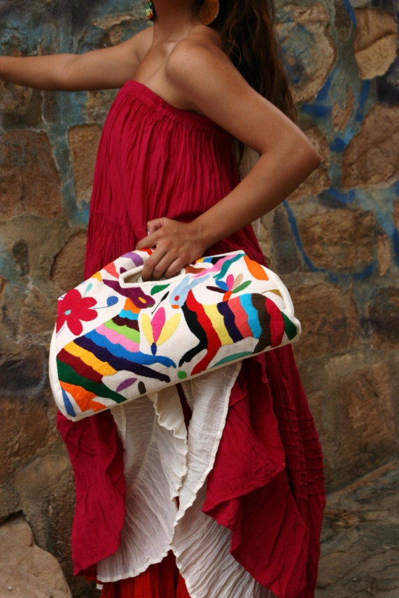 Otomi hand clutch multi colored original piece Ready by CasaOtomi, $119.00