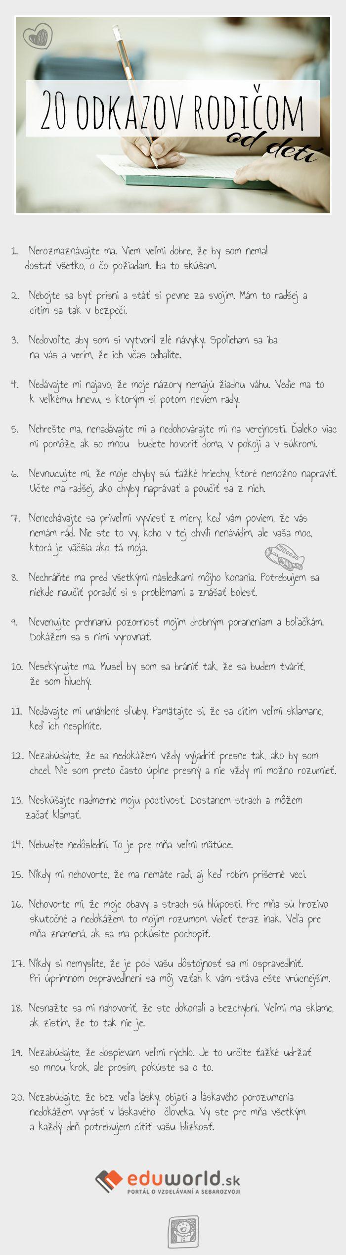 20 odkazov rodičom od detí