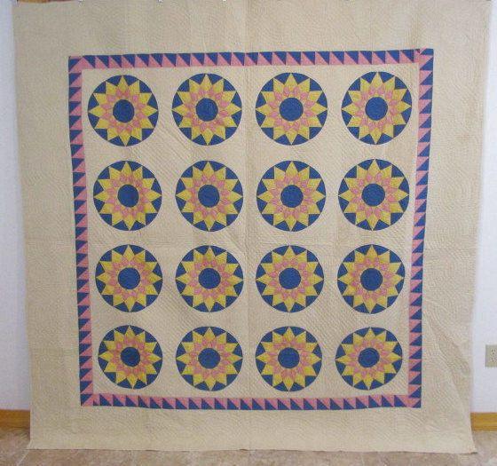 Dazzling 30s Sunburst Compass Antique Quilt Sawtooth 83 x 82 Crisp Pink Blue | eBay