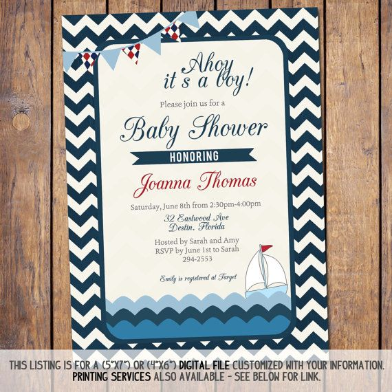 baby boy shower invitation nautical sail boat by JoyPribishDesigns, $15.00