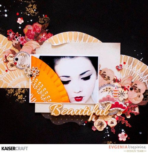 'Beautiful' Layout by Evgenia Krapivina Design Team member for Kaisercraft. Featuring the 'Fan Pattern Gold Foil' from their  'Hanami Garden' Collection [February 2017] Learn more at kaisercraft.com.au/blog ~ Wendy Schultz ~ Scrapbook Layouts.