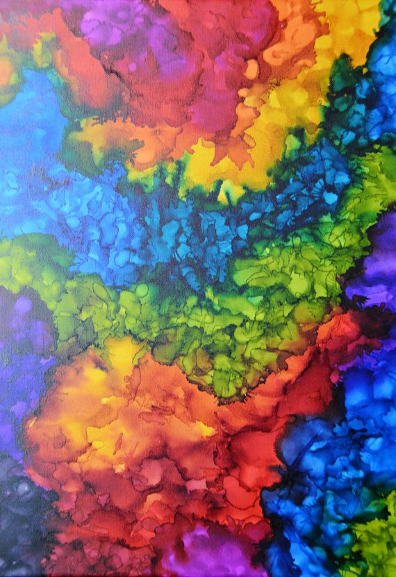 Colorful Abstract Alcohol Ink Painting on 18 by clairevoyantdesign