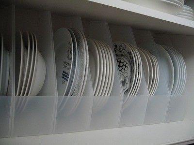 ファイルボックスを使った皿の収納