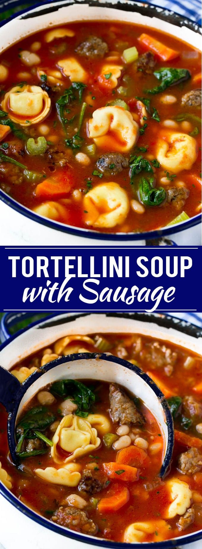 Tortellini Soup with Sausage Recipe | Tortellini Soup | Sausage Soup | Bean Soup | One Pot Meal