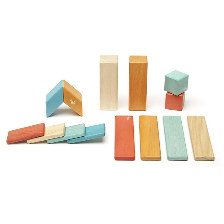 Tegu 14 Piece Magnetic Wooden Block Set- Sunset