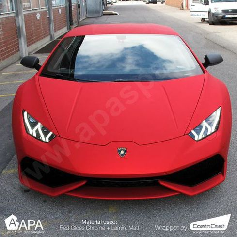 The amazing luxury car decorated with Red Gloss Chrome (CH/S99.31)+ Lamination Matt (L/981) #apastickers #apafilms #apafolie #apavinyl #chromevinyl #carfoil #chrome #carwrap #carwrapping #sportcar #selfadhesive #luxurycar #mattchrome #redchrome #ilw #ilovewrapping #lamborghini #wrappinglamborghini