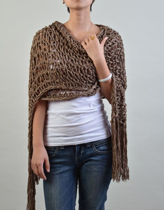 Hand knit scarf/ shawl - extra long eco cotton scarf in coffee *inspiration