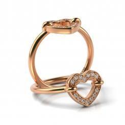 Inel de logodna din aur roz cu diamante Misha