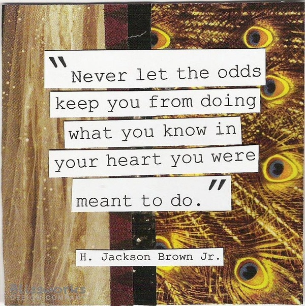 Never let the odds keep you from doing what you know in your heart you were meant to do.  ~H. Jackson Brown, Jr.