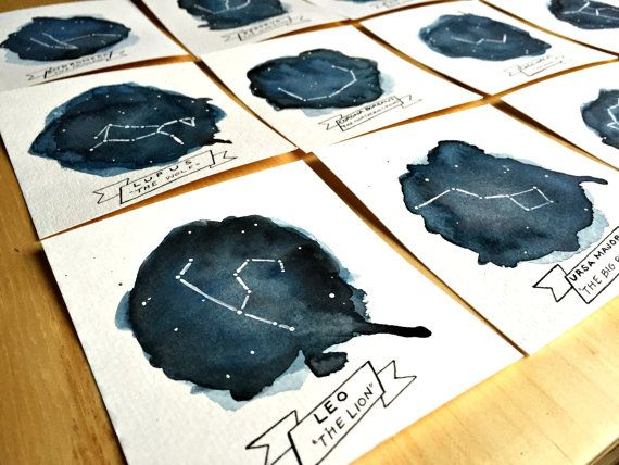Original Starry Night Constellation Table Numbers - Wedding Reception Table Cards -Hand Painted - Watercolor