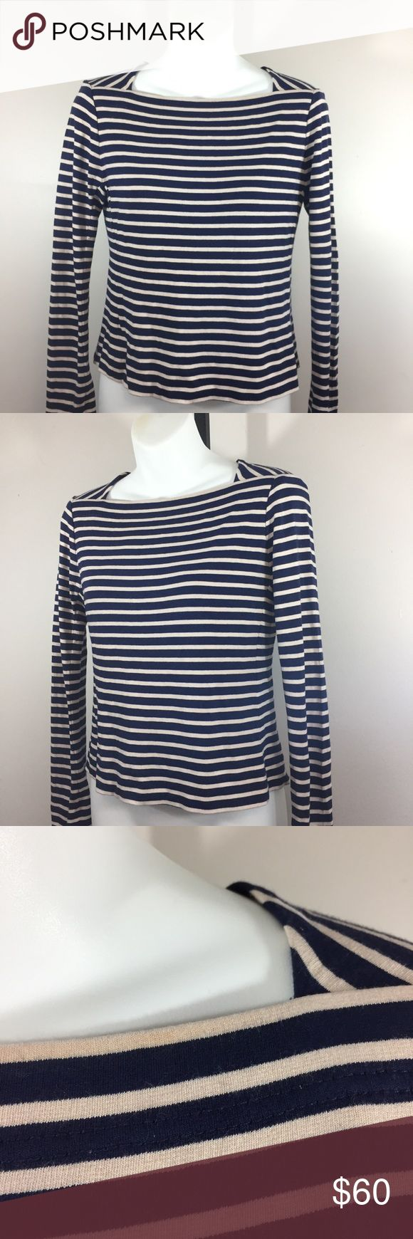 Tory Burch Naval Blue & White Striped Shirt XS Good used condition  One small light spot on the neck. Pictured  XS Blue & white  Bin O Tory Burch Tops