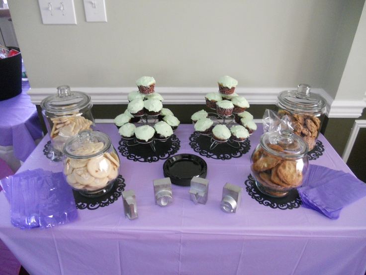 Homemade cookies and cupcakes for the dessert bar.  #Bridalshower