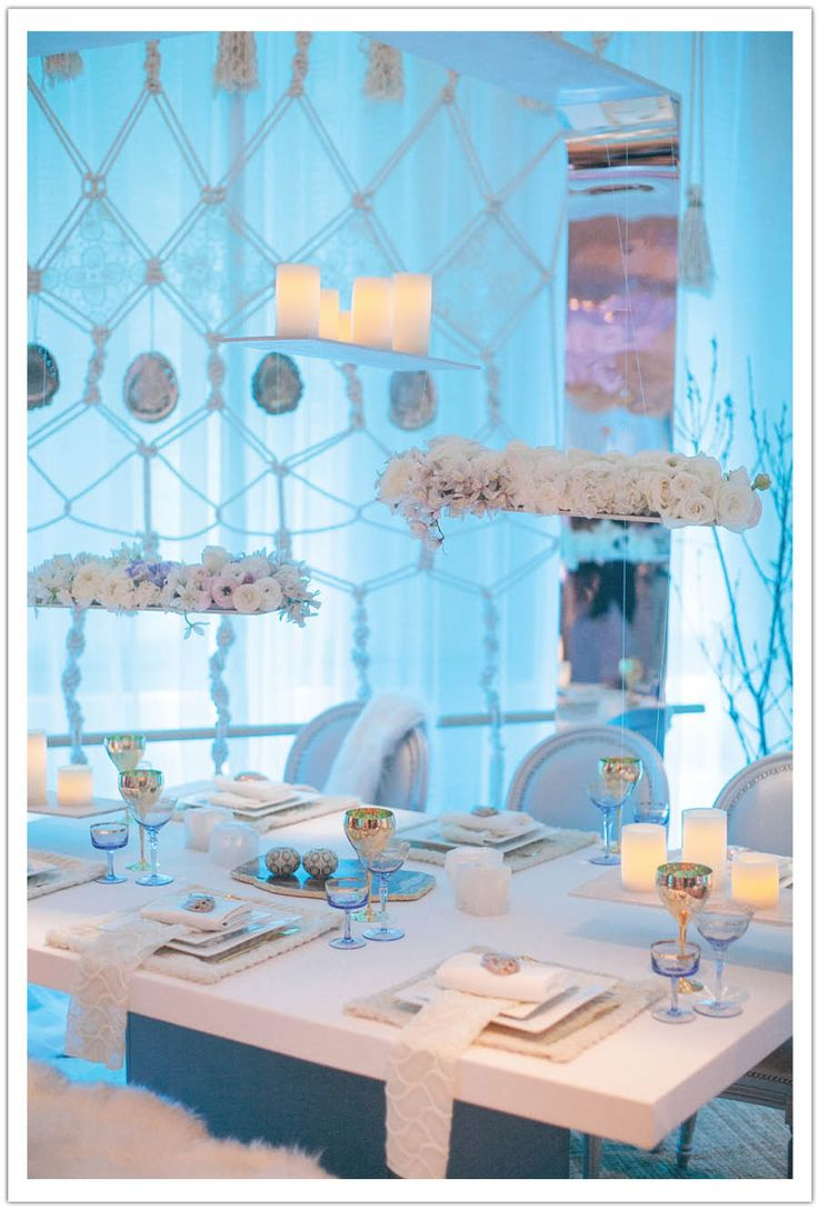 We mixed crisp whites, soft hues and icy blues to create the perfect effect for our boho glam California winter wedding display.  By Alchemy Fine Events www.alchemyfineevents.com: Color, Winter Weddings