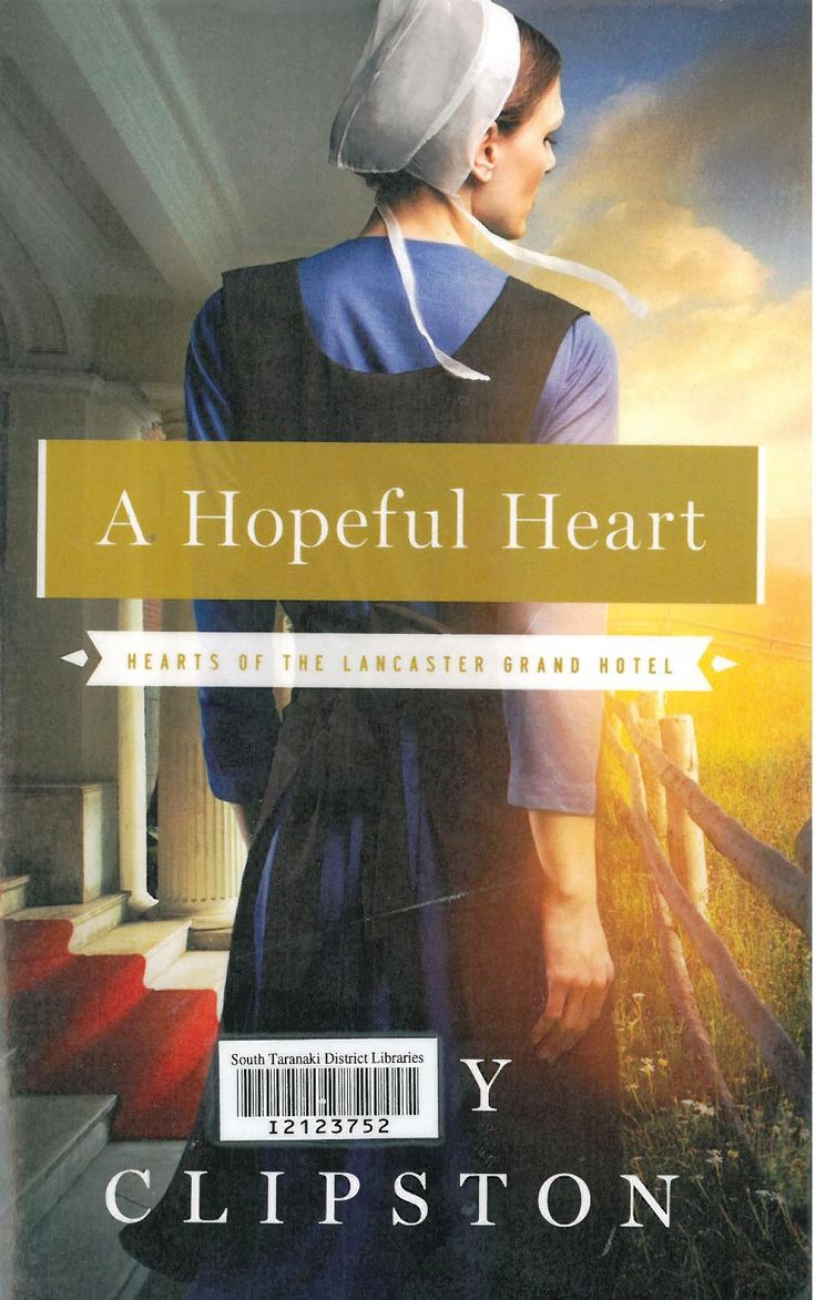 In this first novel in the series, recently widowed Hannah Glick is determined to support her three children, without being a burden to her Amish community, and takes a job cleaning hotel rooms. Wealthy businessman Trey Peterson is surprised at his attraction for the gentle Amish woman who works in the Lancaster Grand Hotel where he is staying.  http://ils.stdc.govt.nz/cgi-bin/koha/opac-detail.pl?biblionumber=95209_desc=kw%2Cwrdl%3A%20hopeful%20heart