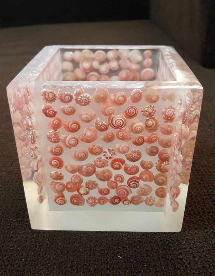Resin Box with Pink Button Top  Sea Shell Inlay Handmade Craft Brand New