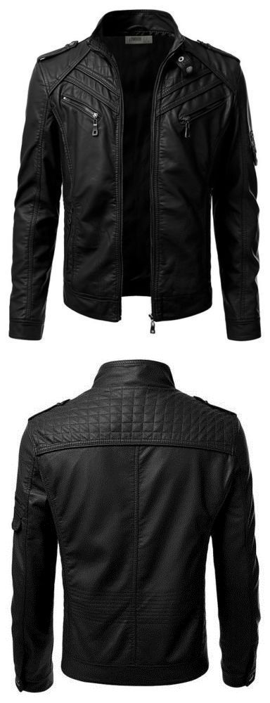 Men Coats And Jackets: New Stylish Black Mens Genuine Lambskin Leather Jacket Slim Fit Biker Coat -067 BUY IT NOW ONLY: $119.99