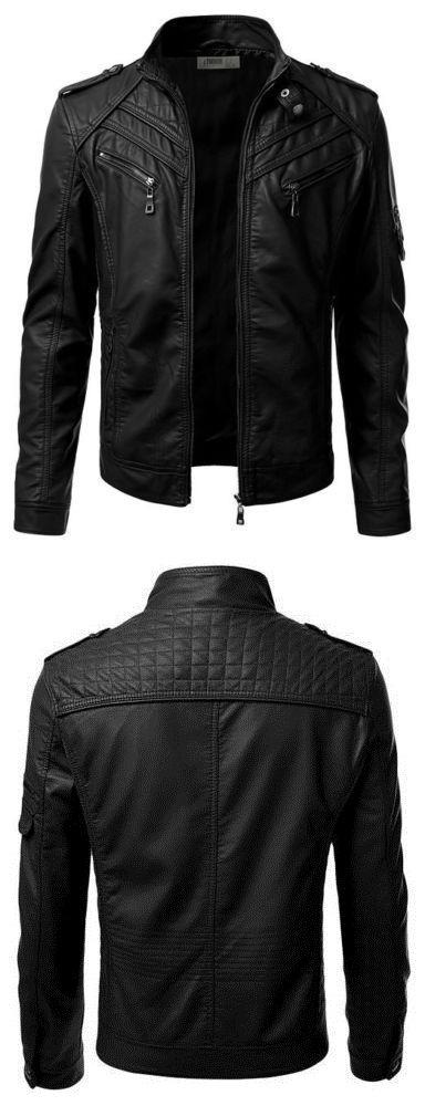 Men Coats And Jackets: New Stylish Black Mens Genuine Lambskin Leather Jacket Slim Fit Biker Coat -067 BUY IT NOW ONLY: $119.99