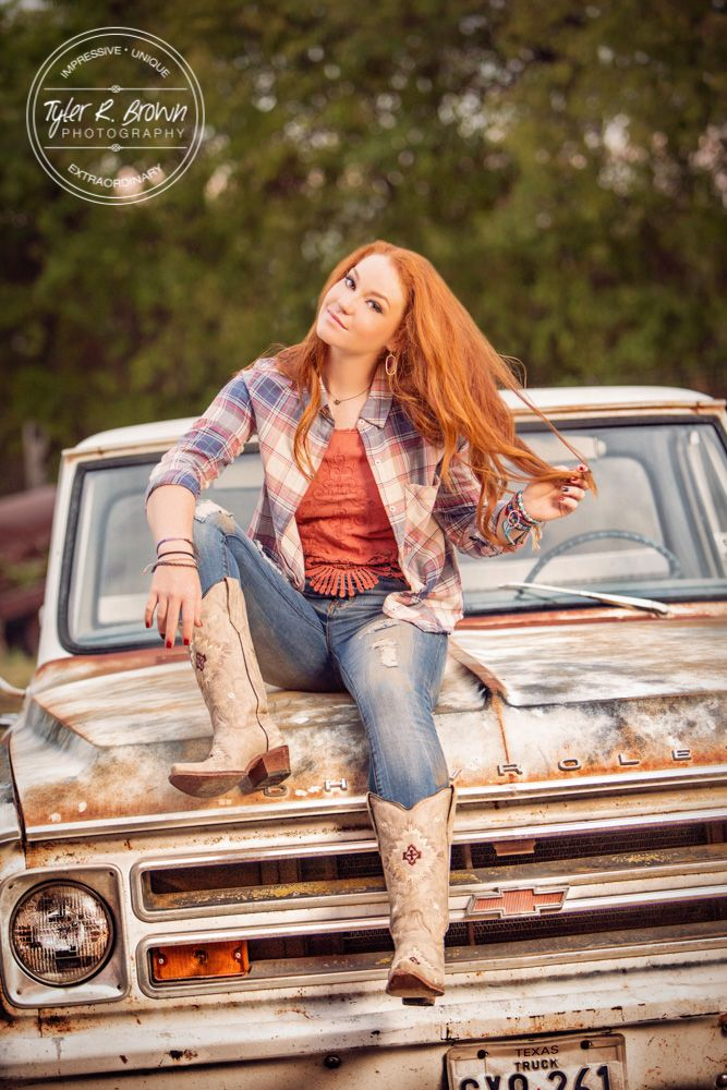 Madi Meyers - Luscombe Farms - Lone Star High School - Senior Portraits - Old Truck - Country Chic - Class of 2016 - @Whitney Stiles - Truck - Dallas - Cowboy Boots - Senior Pictures - Redhead - Senior Model Rep - Tyler R. Brown Photography