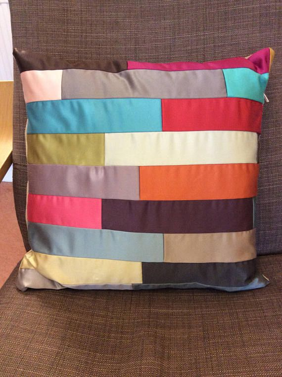 Hand  made multicoloured satin patchwork cushion cover/pillow
