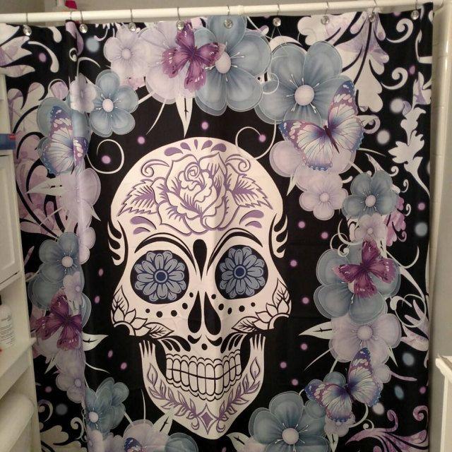 Shower Curtain Get it here => http://tidd.ly/1057e01a #mysugarskulls #sugarskulls #sugarskull #skull #dayofthedead #calavera
