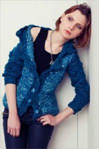 Modrý kabátek Mariana Color | PLETENÍ – NÁVODY