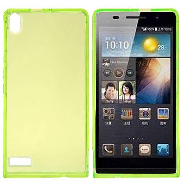 Groen / transparant TPU hoesje voor Huawei Ascend P6